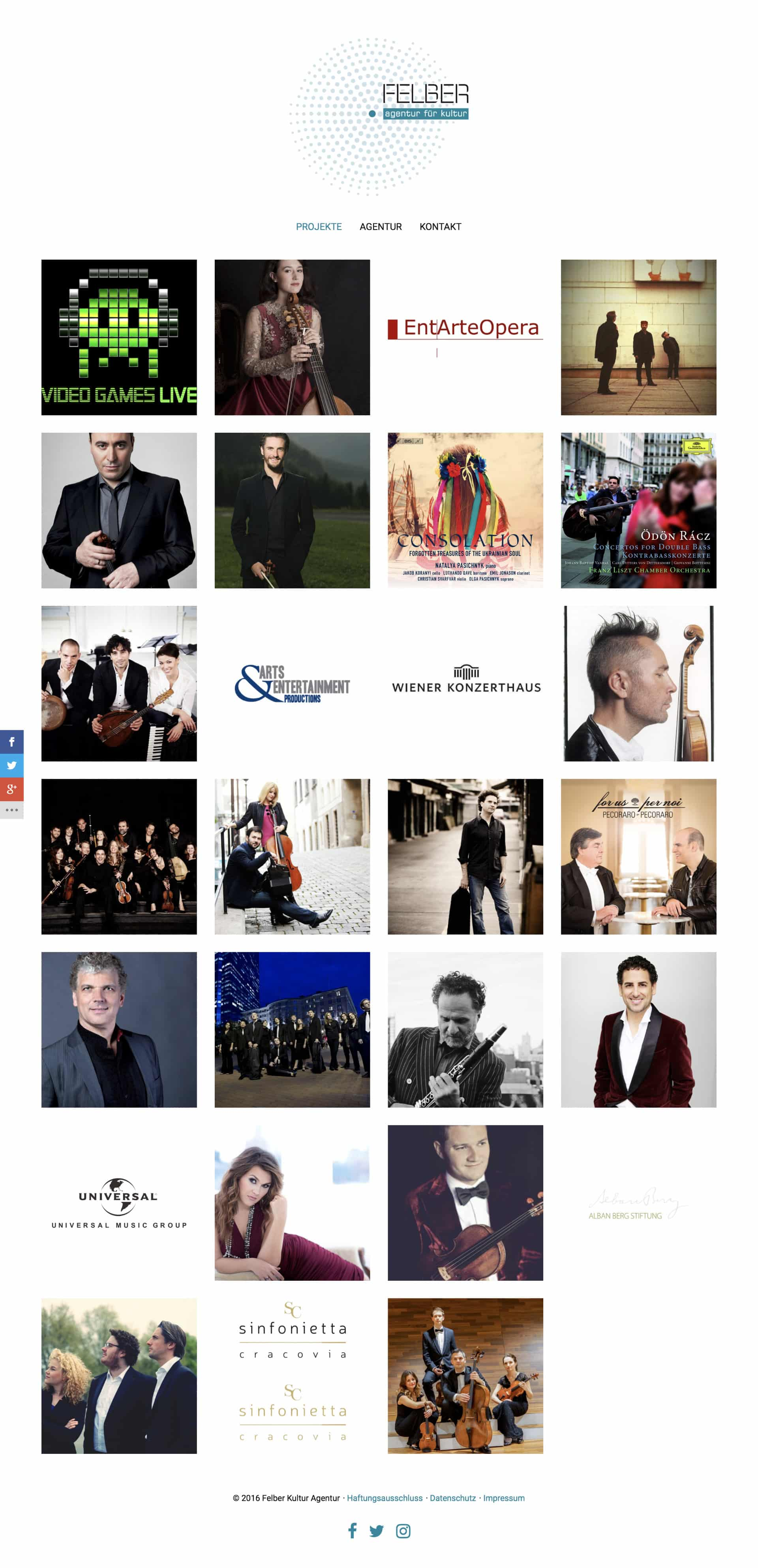 Felber – Agentur für Kultur Website