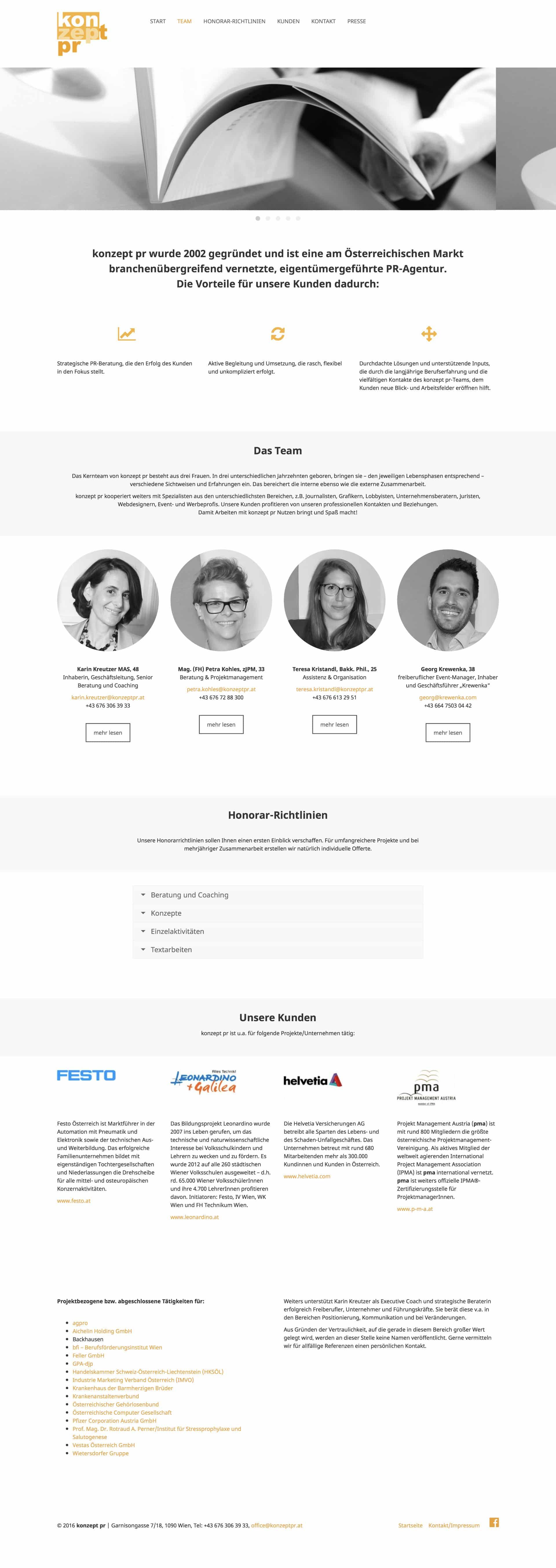 Konzept PR Webseite