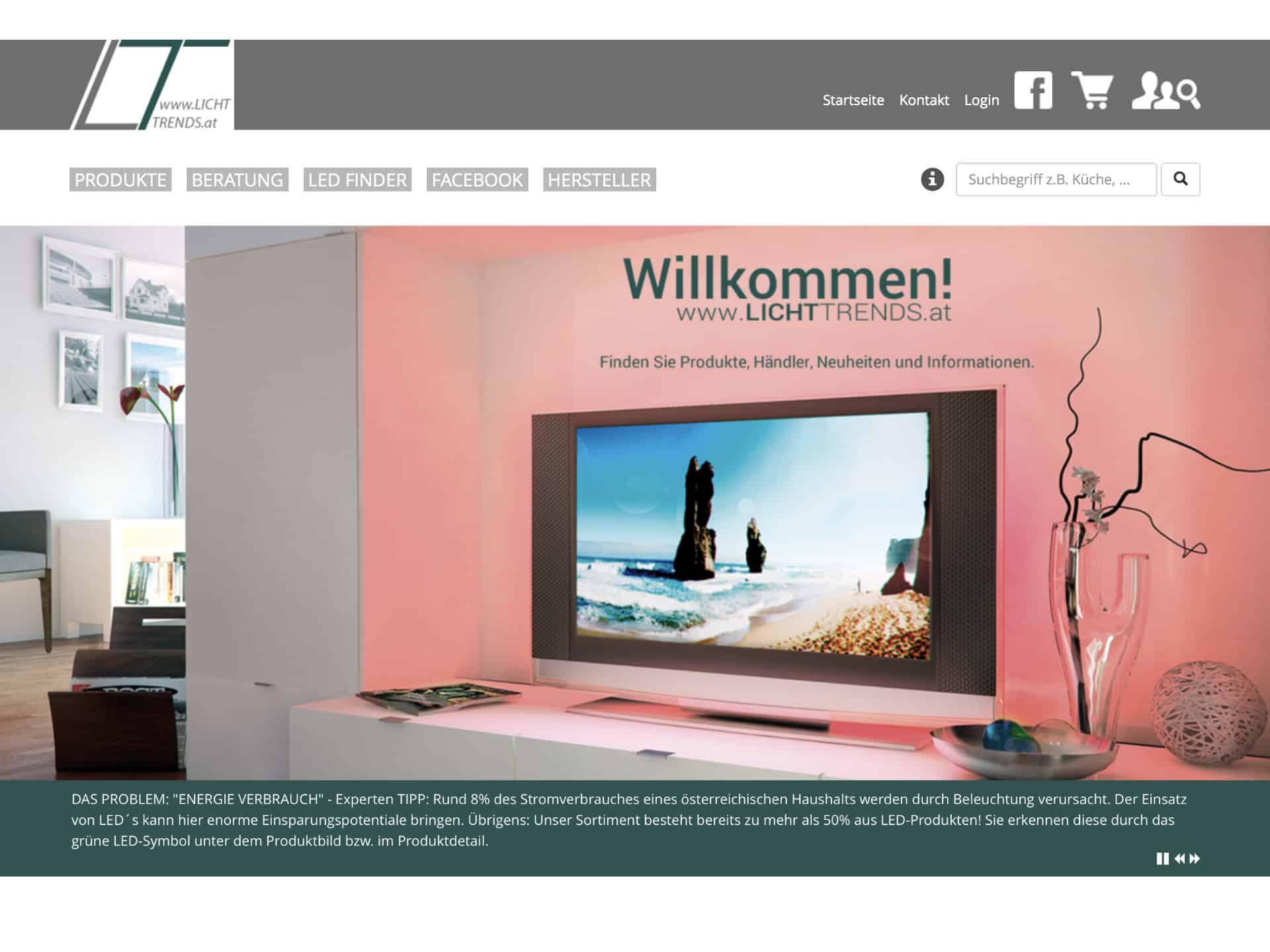 Lichttrends Online Shop Webseite