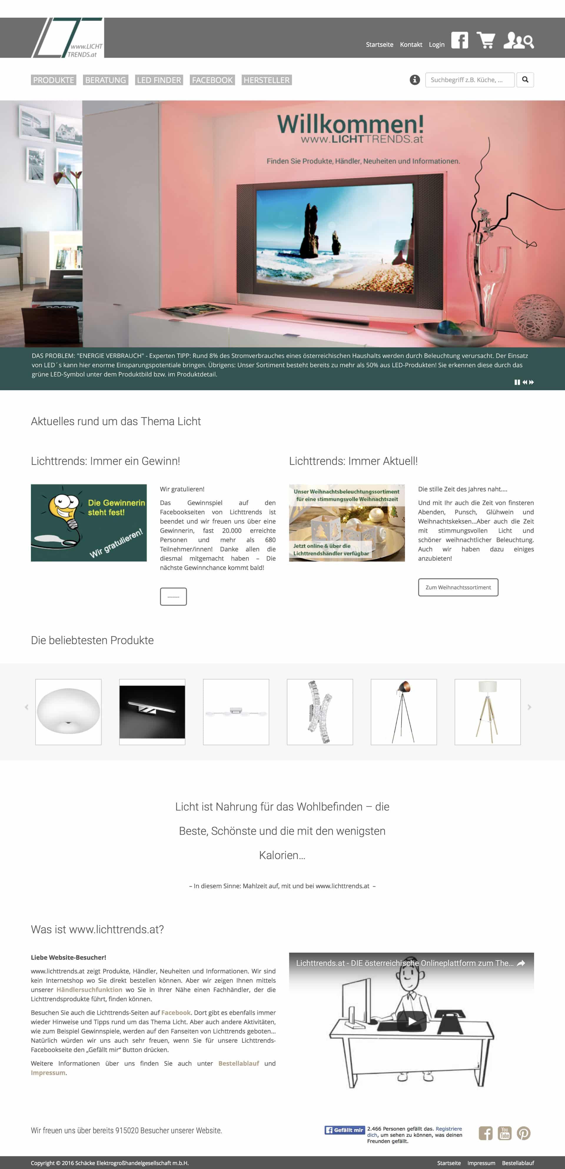 Lichttrends Online Shop Webseite LED Finder