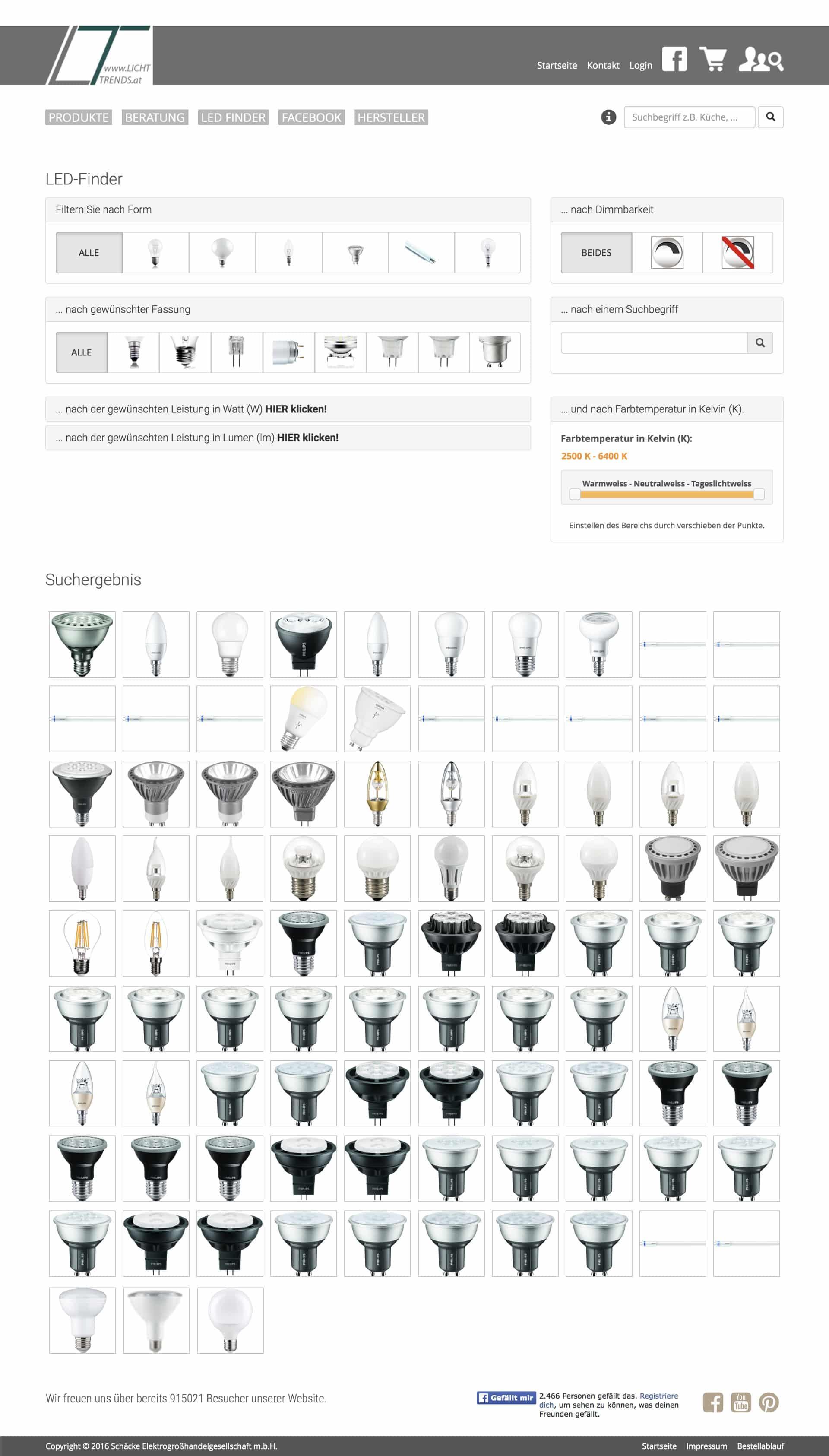 LED Finder Lichttrends Online Shop Webseite