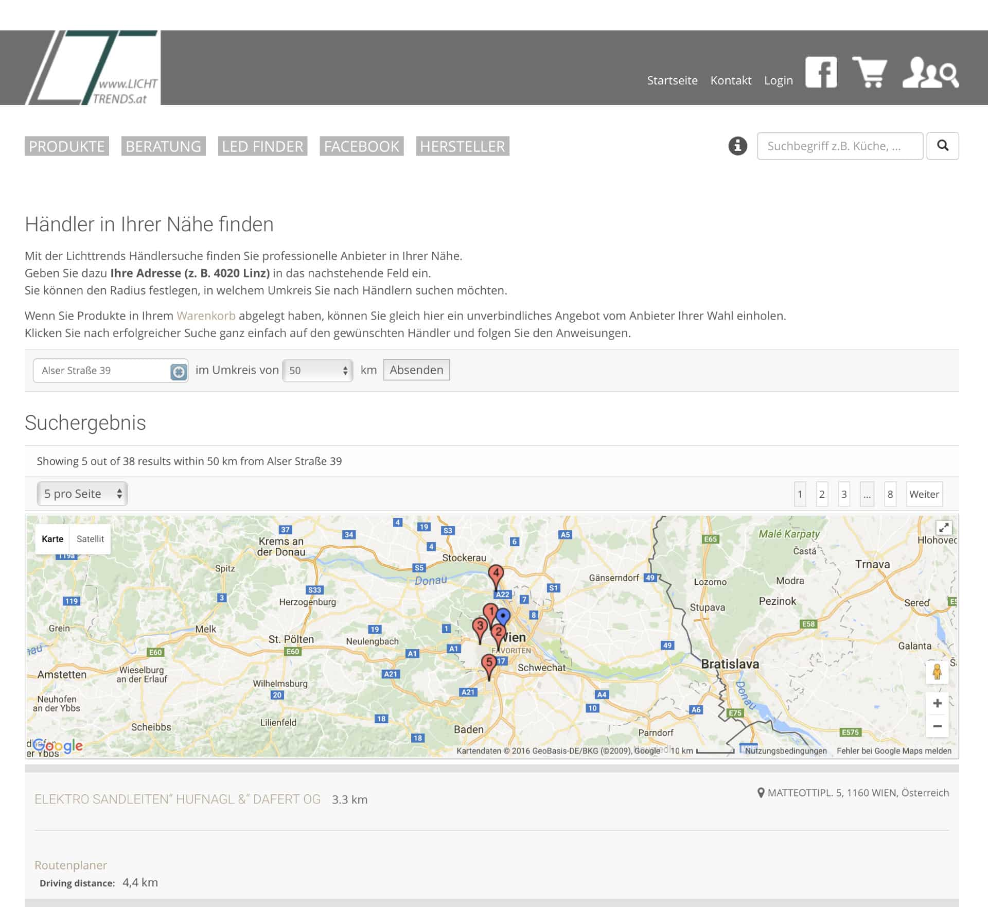 Händlersuche Lichttrends Online Shop Webseite