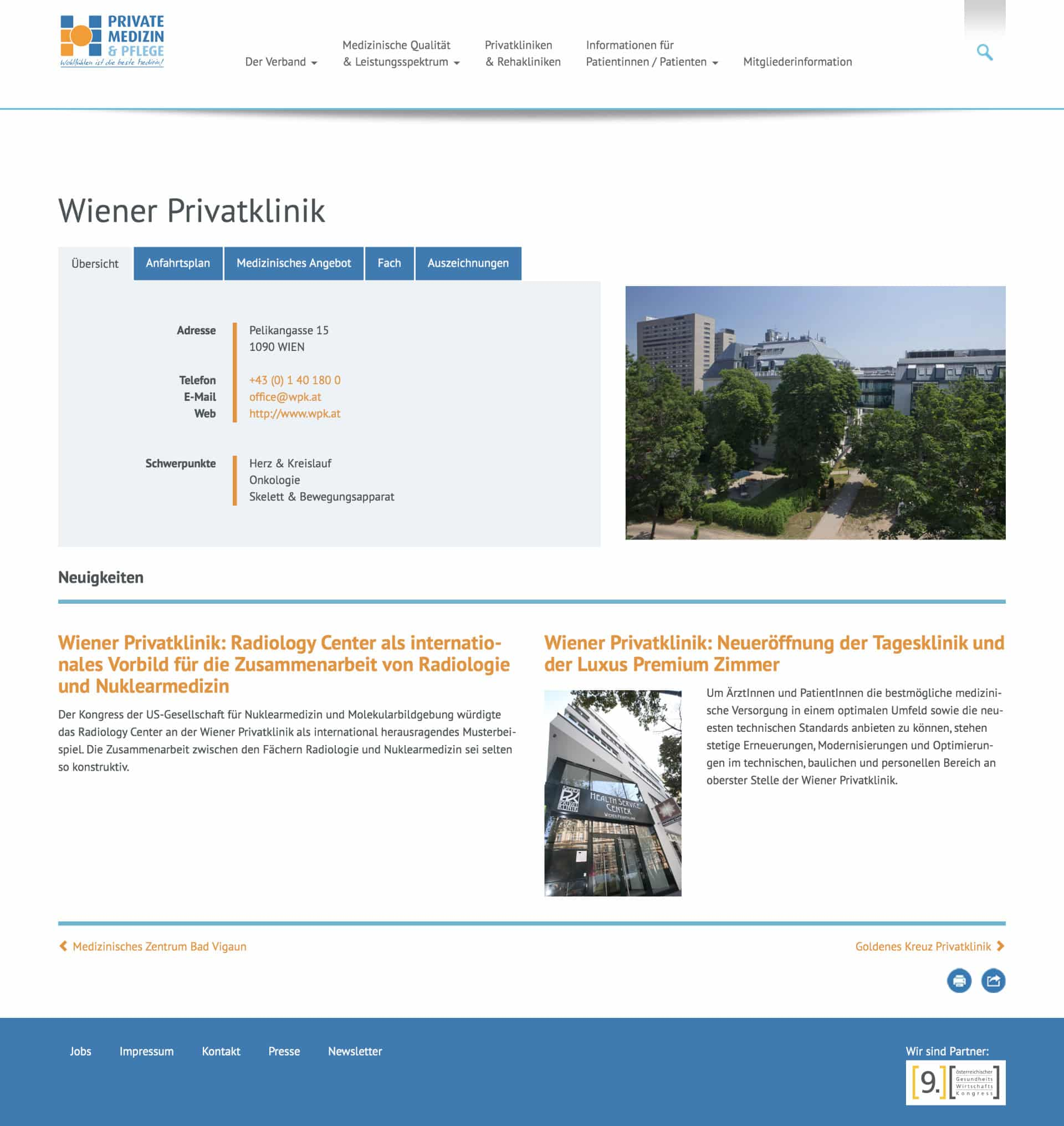 Verband der Privatkrankenanstalten Österreichs Website