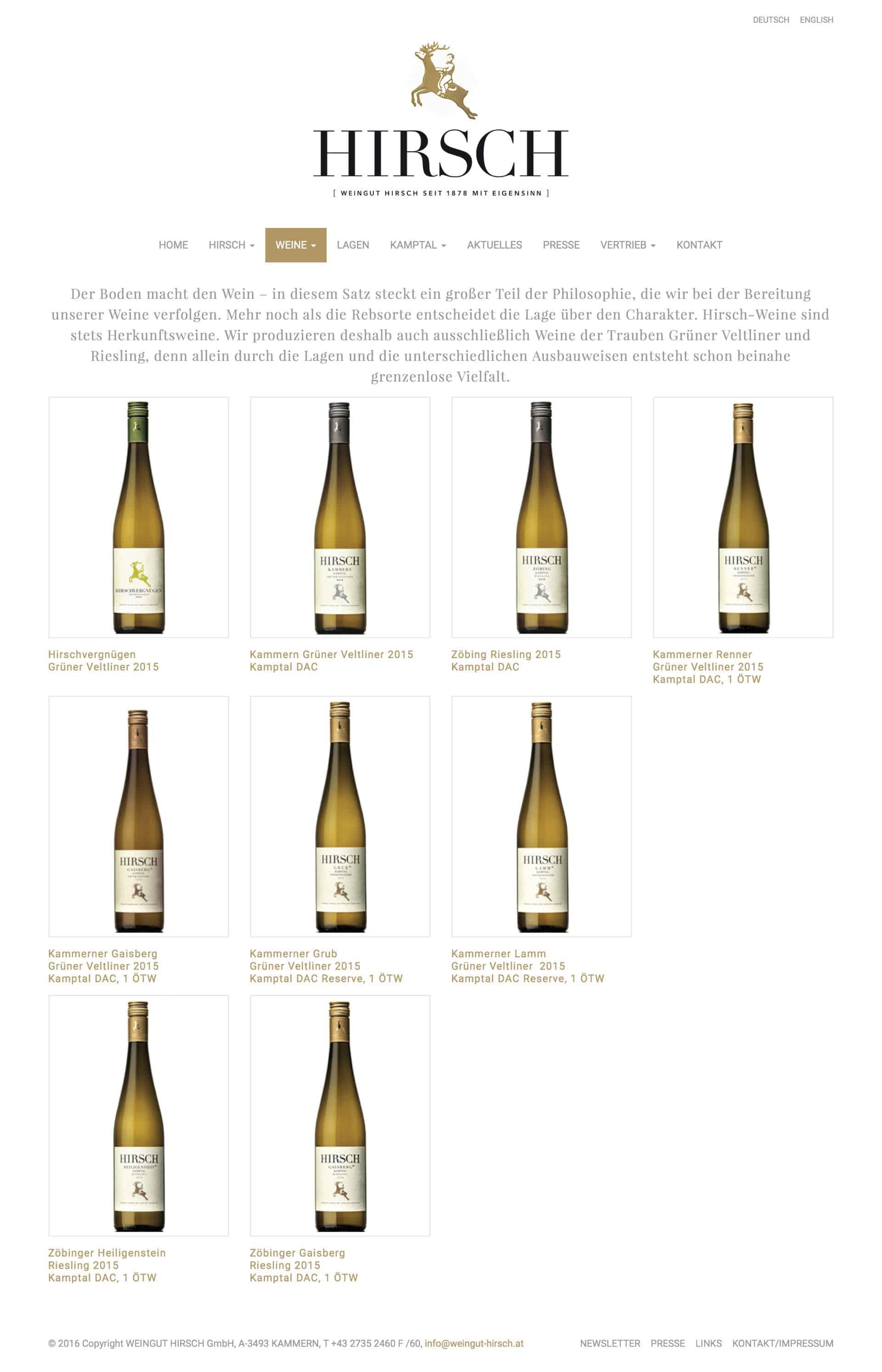 Weingut Hirsch Webseite